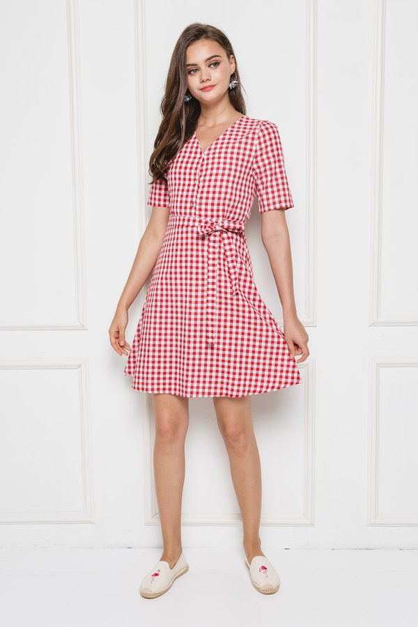 Pattern Fluidity Gingham Dress Red