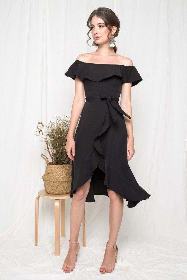 Ritz and Ruffle Midi Dress Black