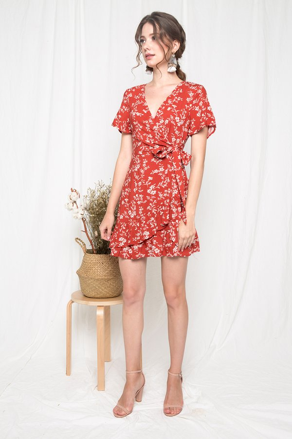 Dainty Dalliance Ruffle Wrap Dress Brick Red