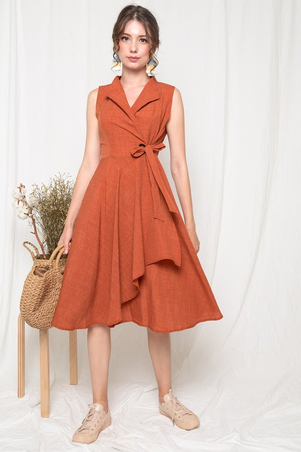 Draping Wraps Trench Midi Dress Rust