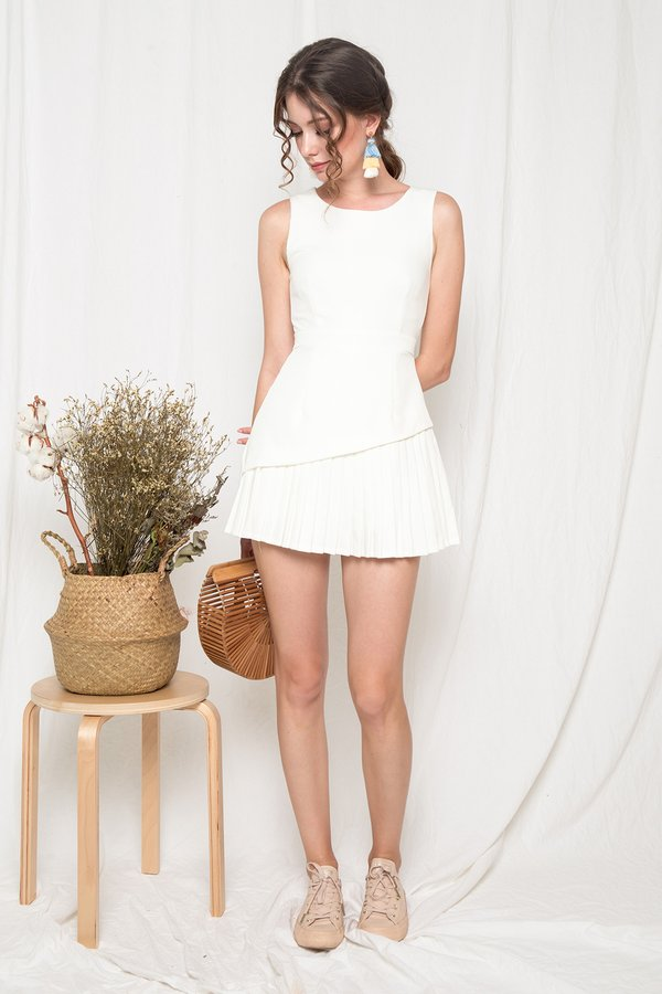 Artfully Pintucked Pleated Romper Dress White