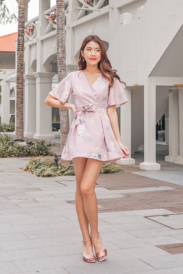 Floral Pageantry Kimono Romper Dress Blush