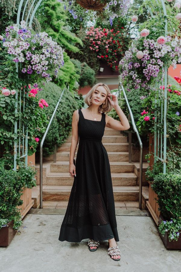 Swiss Dot Aspirations Maxi Dress Black