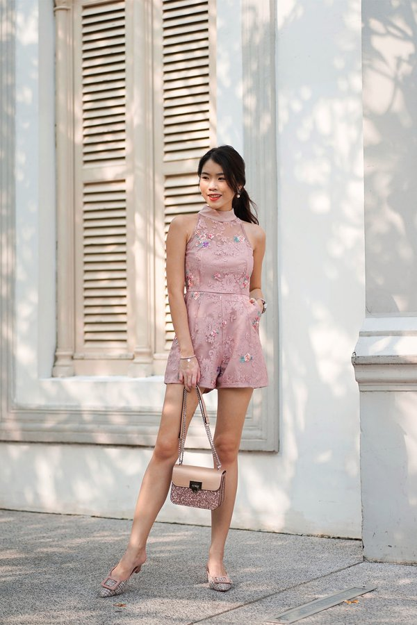 Embroidery High Lace Romper Pink