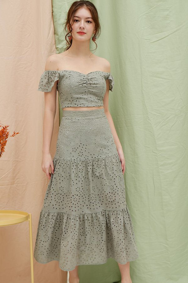 Stay-in Fairytale Eyelet Two Piece Maxi Set Sage Green