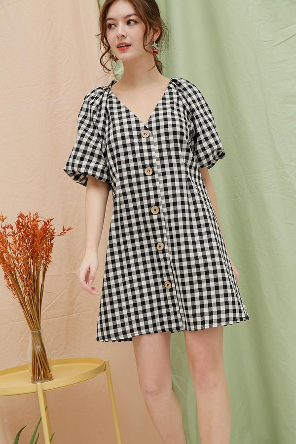 Gingham on Repeat Button Shirt Dress