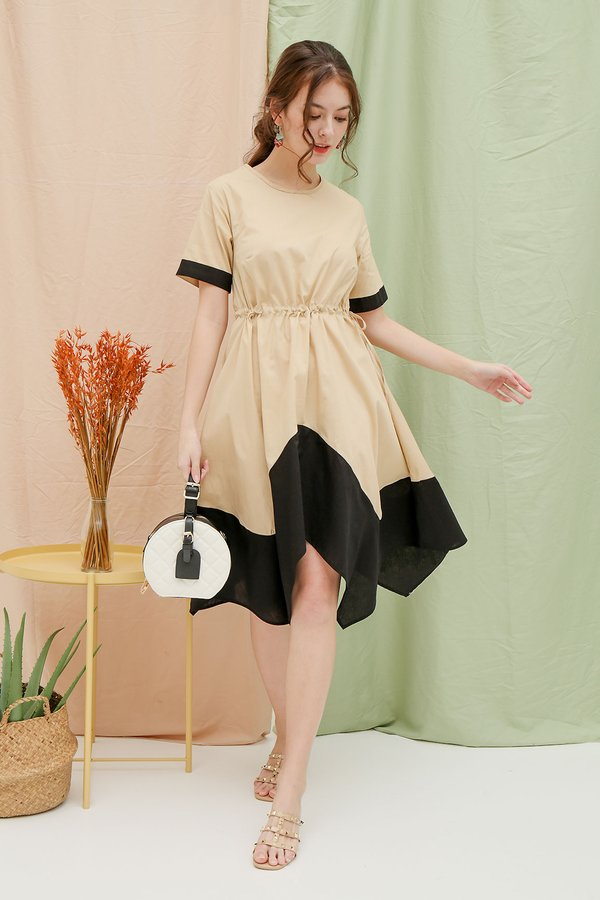 Highs and Lows Colourblock Dress Cream