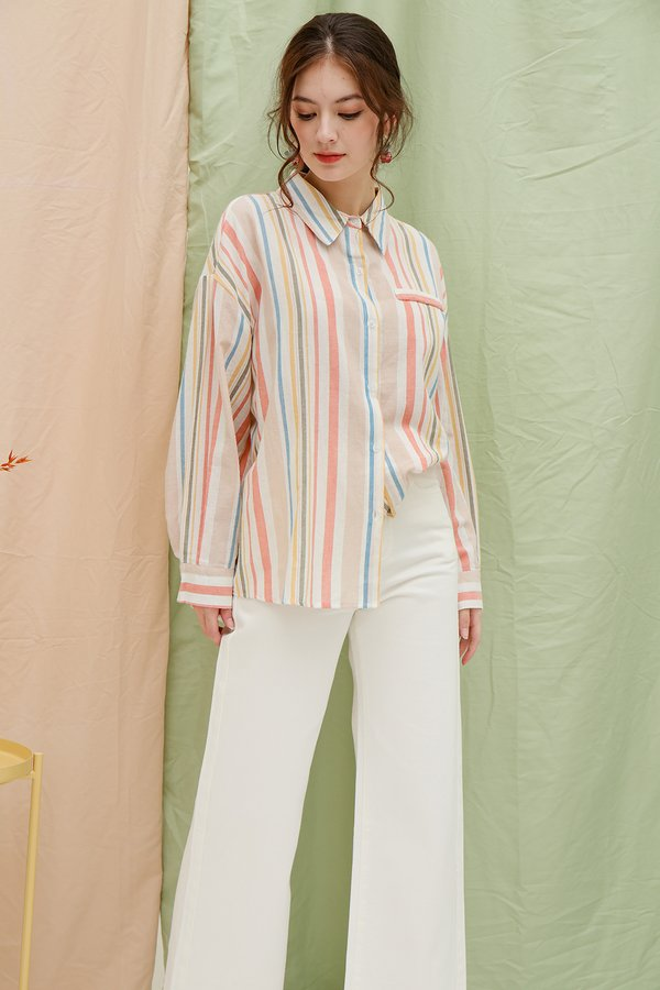 Pastel Filled Rainbow Stripes Shirt