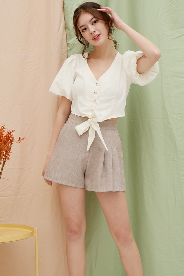 Bubbly Persona Button Tie Knot Shirt