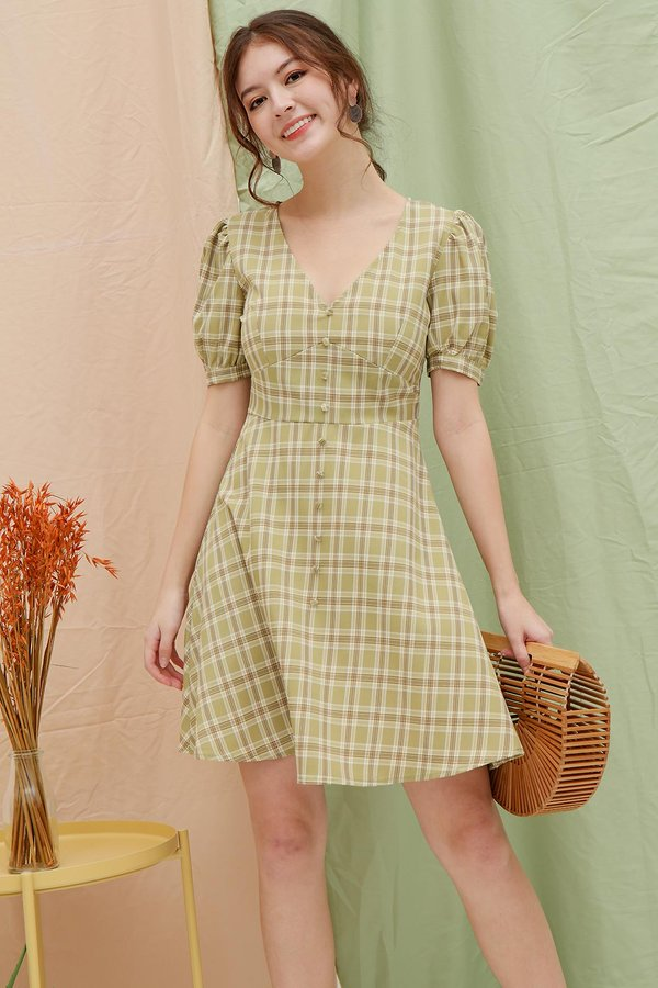 Gingham is always Greener Button Dress
