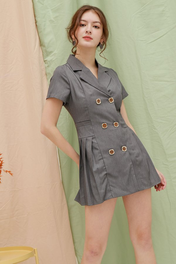 Highflyer Tweed Pleats Button Blazer Dress Grey Stonewash