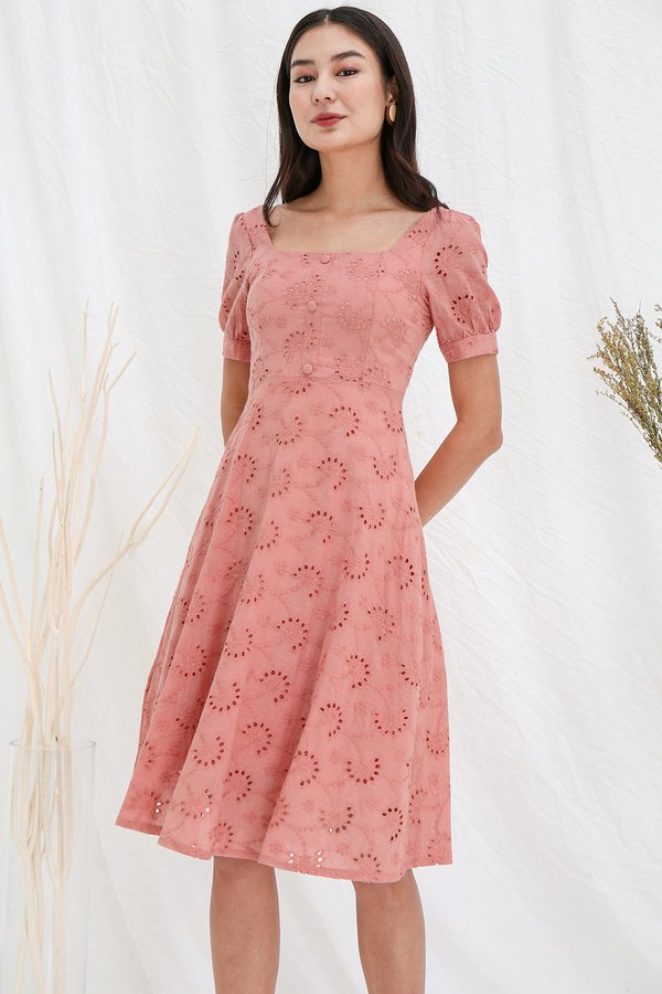 Sycamores by the Sea Eyelet Midi Dress Pink