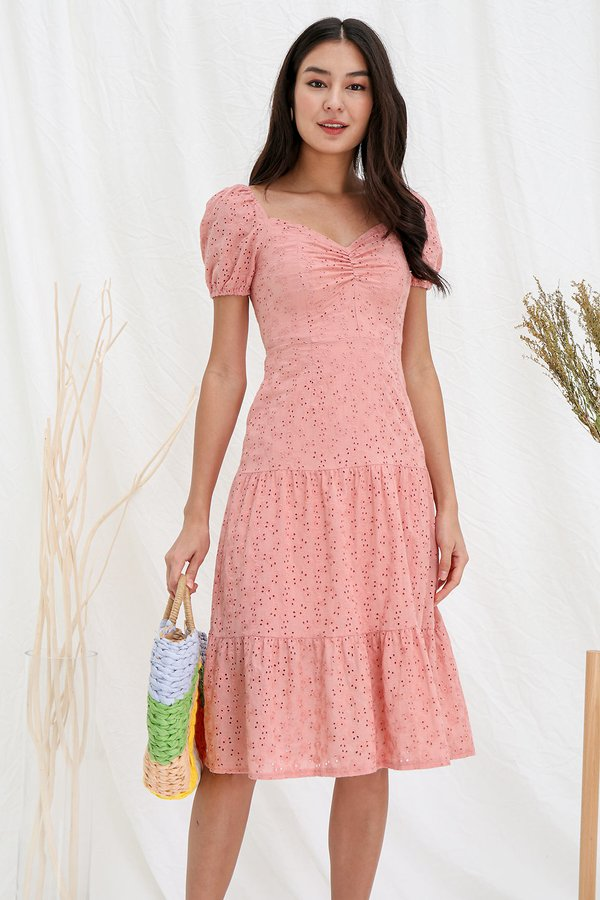 Tier She Comes Ruched Eyelet Midi Dress Pink