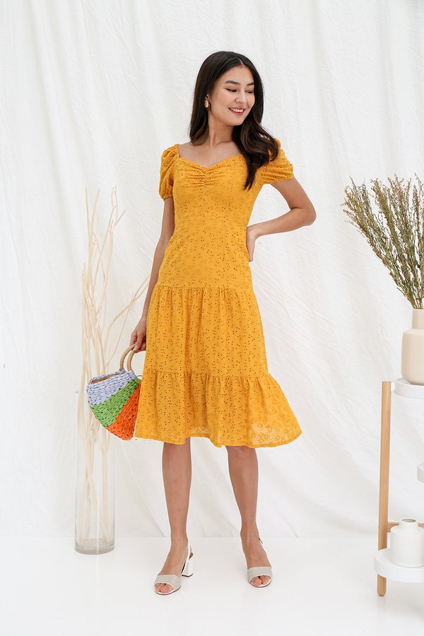 Tier She Comes Ruched Eyelet Midi Dress Marigold