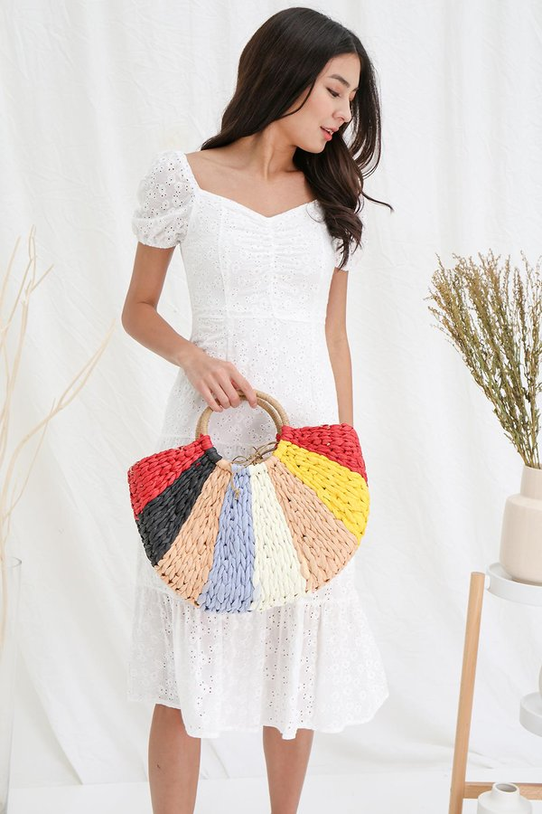 Colour Filled Rainbows Drawstring Rattan Bag Bubblegum