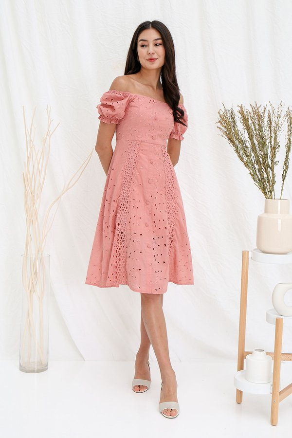 Wholesome Nuances Button Eyelet Midi Dress Pink