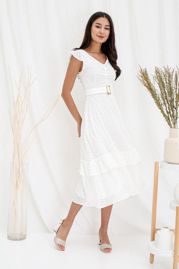 Lightfooted Forays Eyelet Tier Midi Dress White