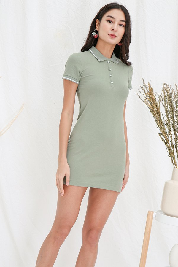Sport in your Step Polo Tee Dress Sage Green