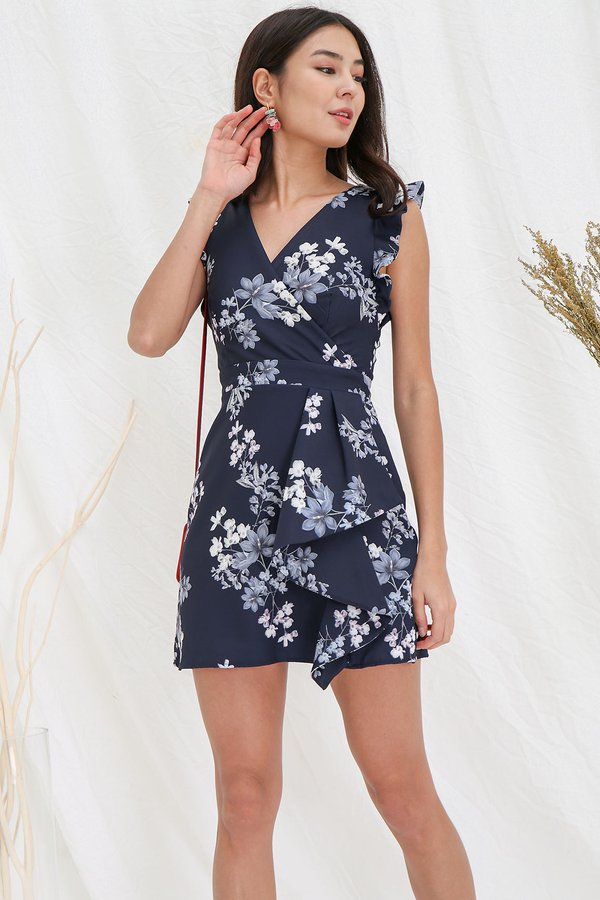 Wearable Floral Art Origami Dress Navy Blue