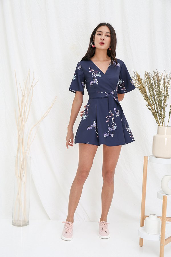 Vacation Vogue Floral Kimono Dress Navy Blue