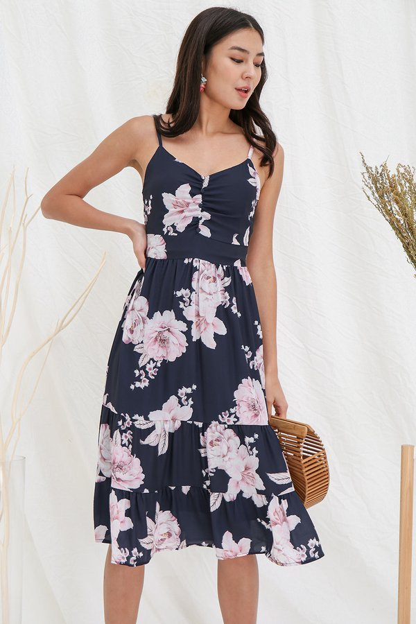 Dreamtimes Upon Canvases Floral Tier Midi Dress Navy Blue