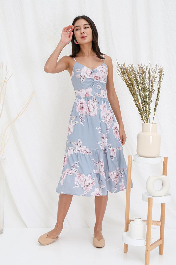 Dreamtimes Upon Canvases Floral Tier Midi Dress Blue Grey