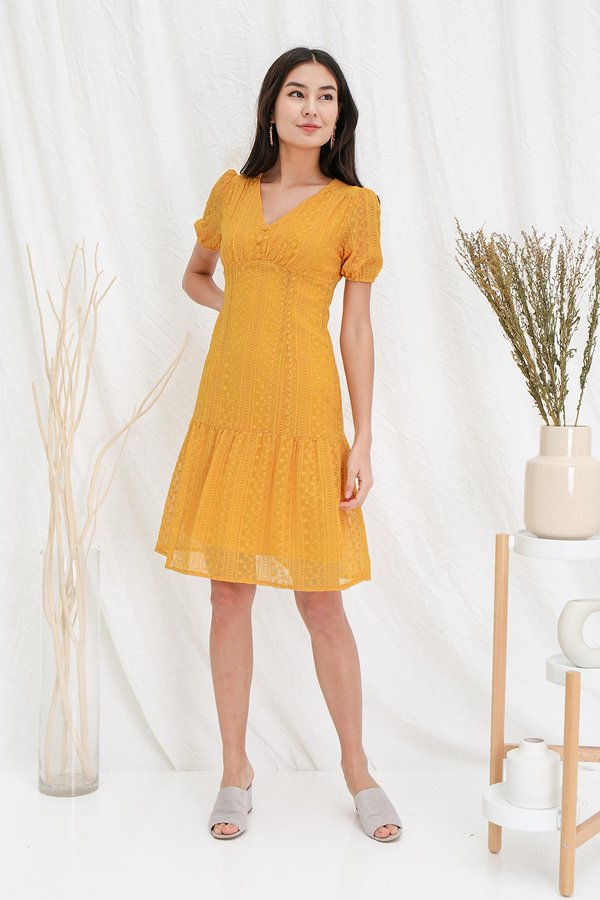 Spin A Finery Tale Embroidery Dropwaist Dress Marigold