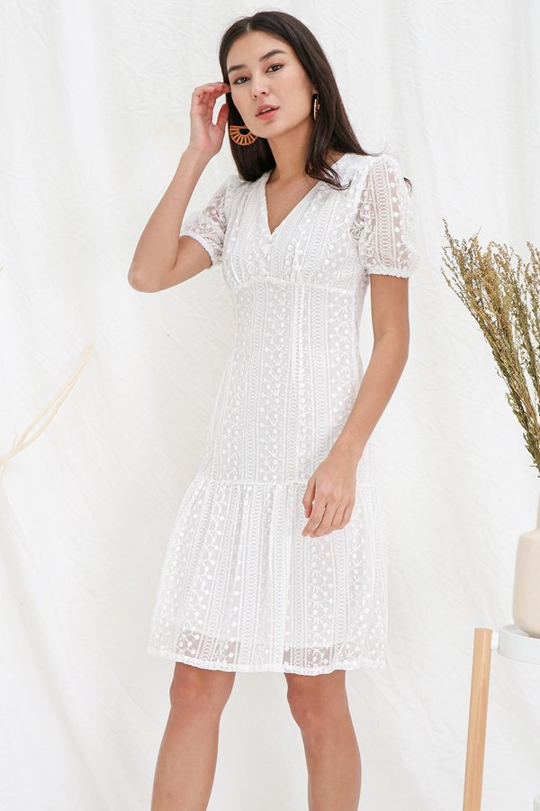 Spin A Finery Tale Embroidery Dropwaist Dress White