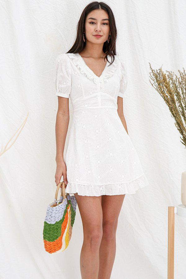 Floral Fern Spritz Embroidery Dress White