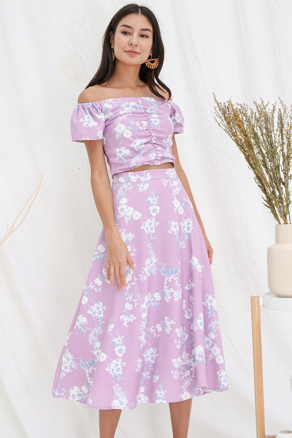 Holiday Homage Floral Ruched Two Piece Maxi Set Lavender