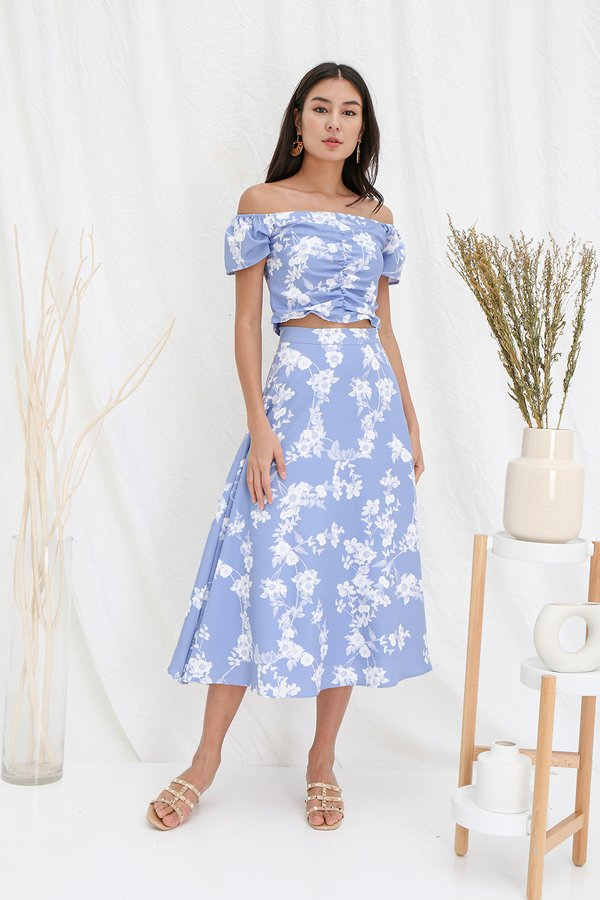 Holiday Homage Floral Ruched Two Piece Maxi Set Cornflower Blue