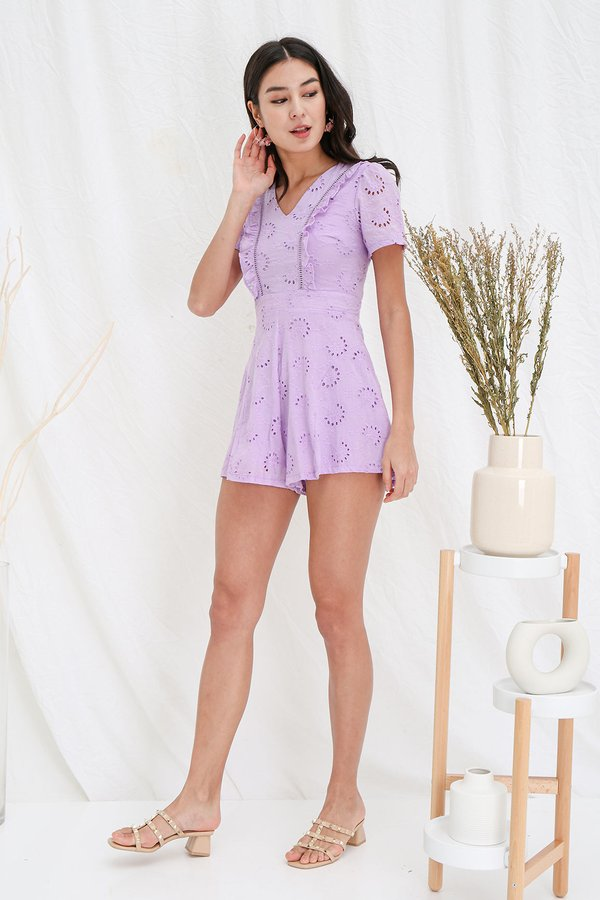 Angelic Anglaise Eyelet Romper Lilac