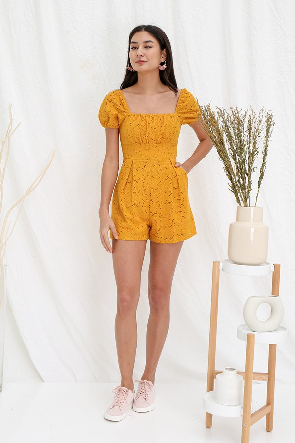 Ruefully Ruched Floral Eyelet Romper Marigold