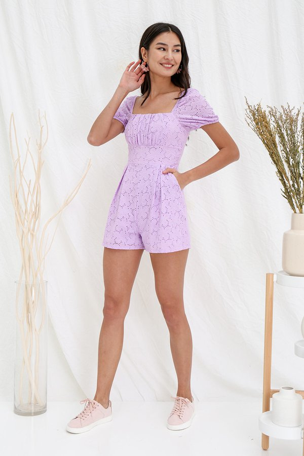 Ruefully Ruched Floral Eyelet Romper Lilac
