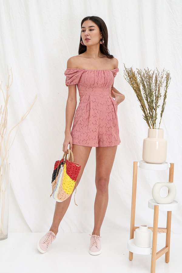 Ruefully Ruched Floral Eyelet Romper Pink