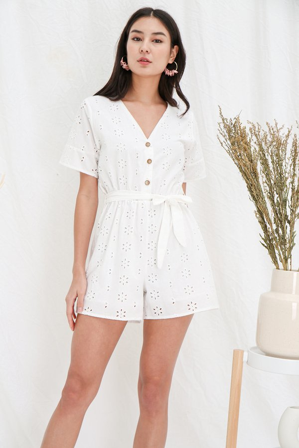 Arcadia Eyelets Button Romper