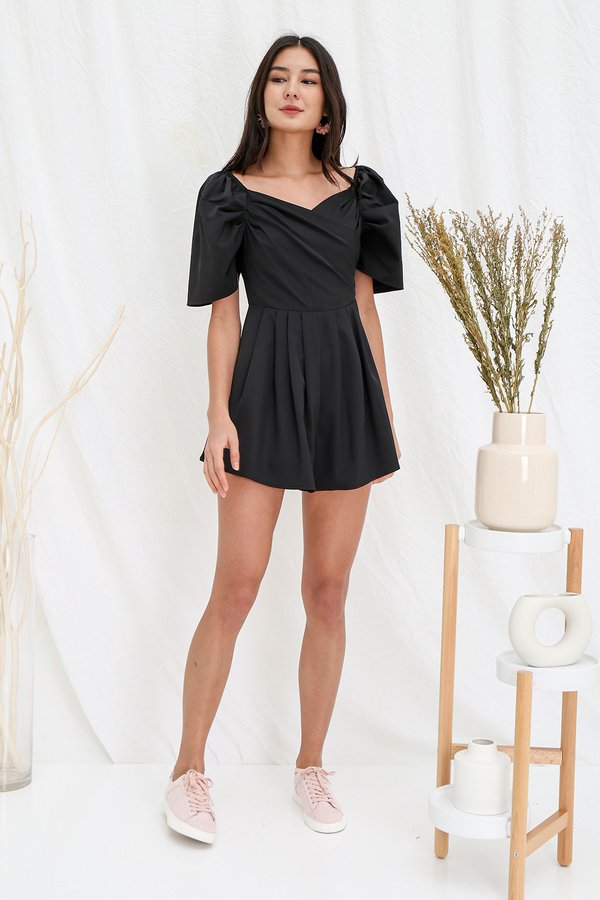 Royally Ruched Pleated Romper Black