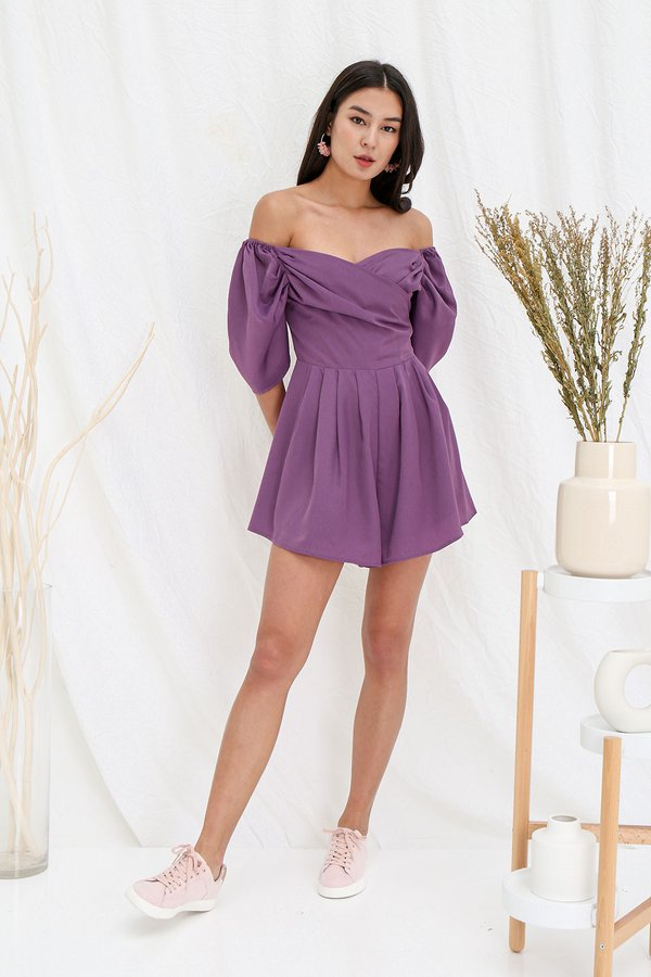 Royally Ruched Pleated Romper Purple
