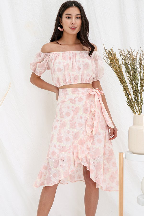 Sorbet so Ombre Eyelet Two Piece Midi Set Pink Lemonade