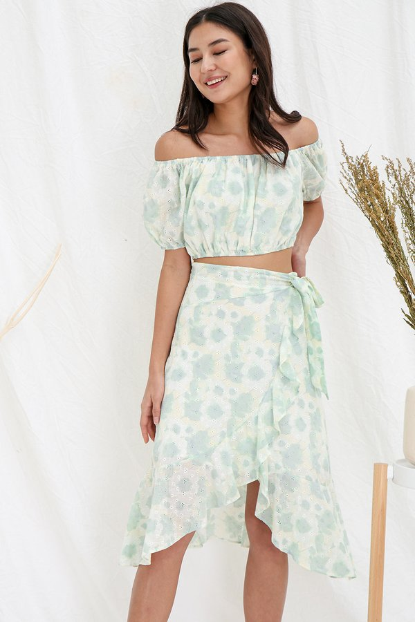 Sorbet so Ombre Eyelet Two Piece Midi Set Citrus Mint
