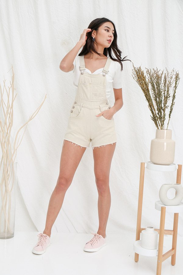 Weekend State of Mind Denim Dungaree Shorts Cream