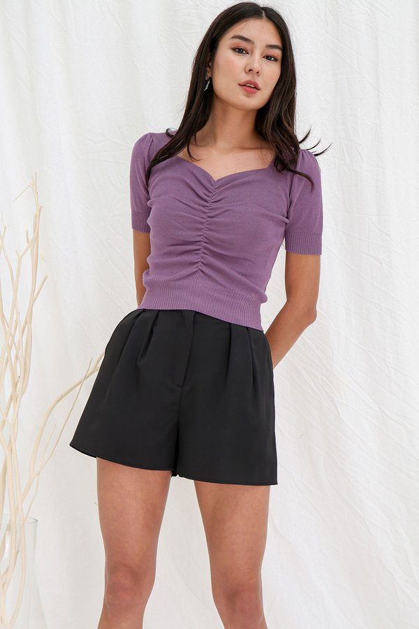 Unruly yet Unrivalled Ruches Knit Tee Purple