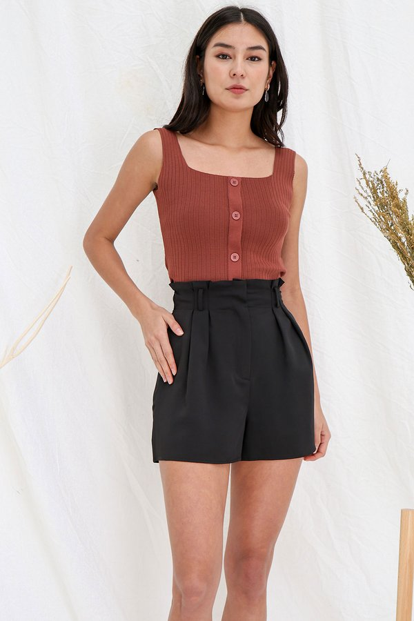Fit like a Dream Buttoned Ribbed Knit Top Rust
