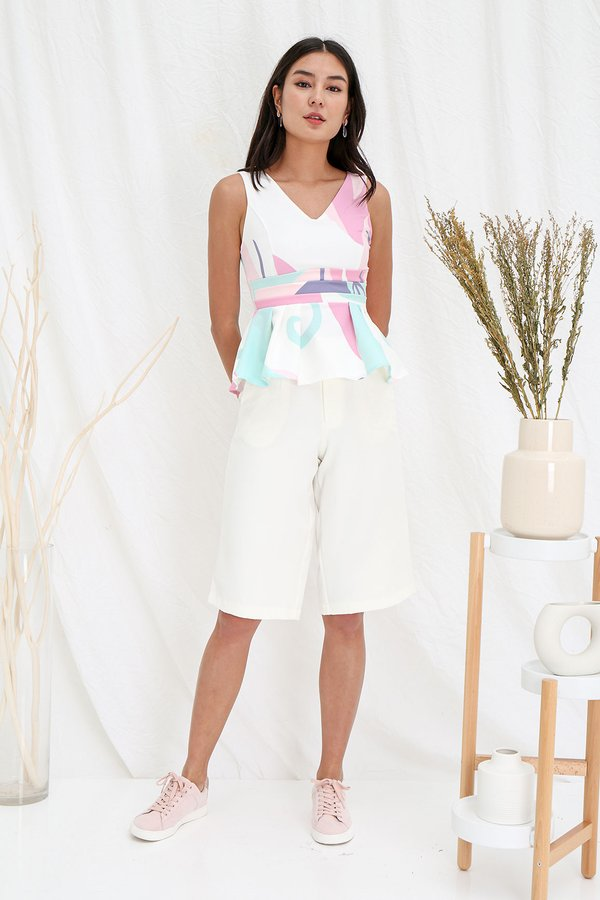 Abstract Foliage Peplum Top Pink