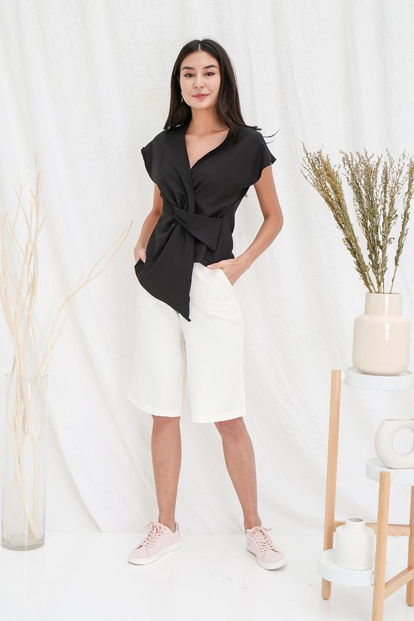 Cinched Centric Gathering Wrap Blouse Black
