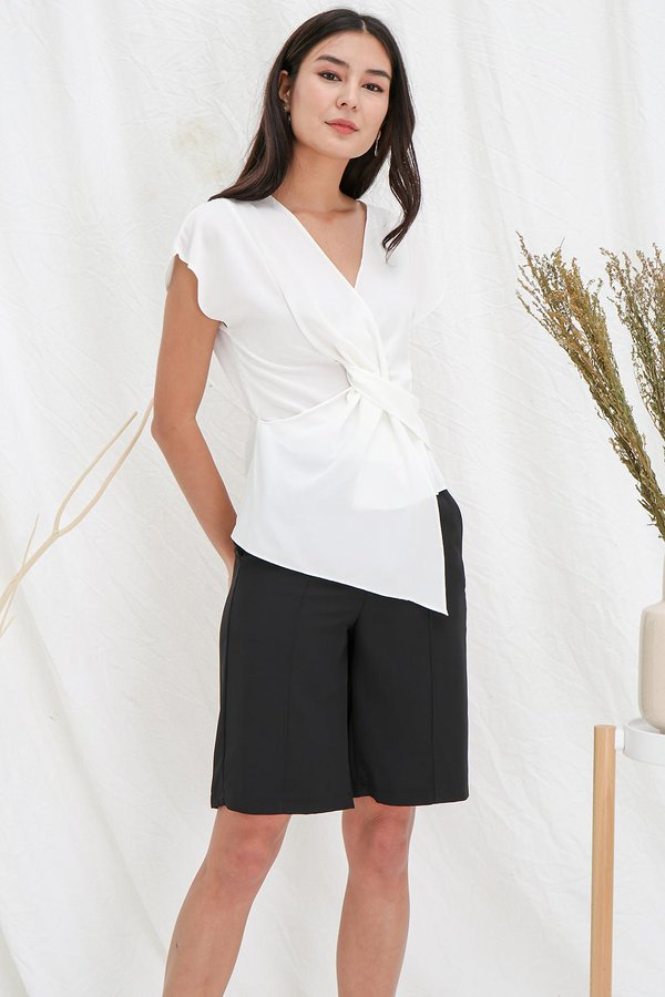 Cinched Centric Gathering Wrap Blouse White