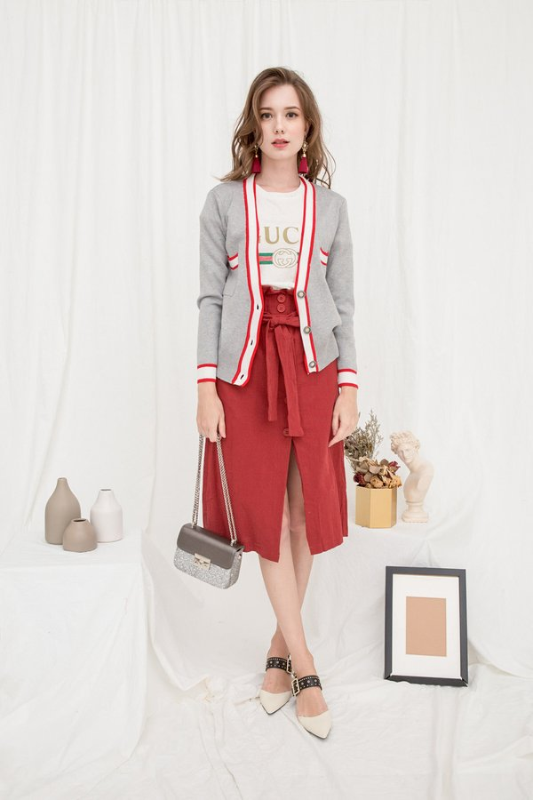Colour Coup Knit Cardigan Grey