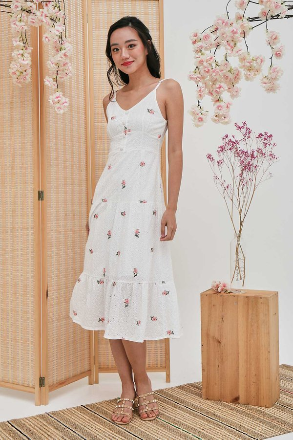 Enamouring Florals Embroidery Midi Dress White