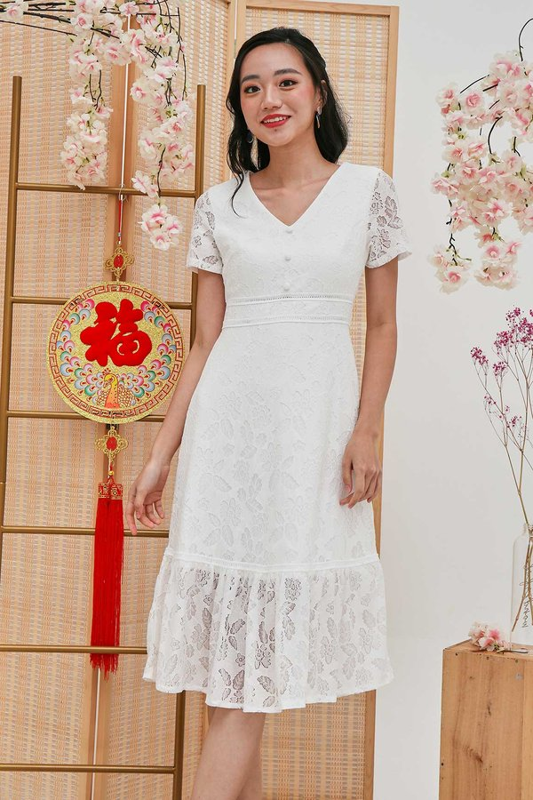 Lacey Fairytale Dropwaist Dress White