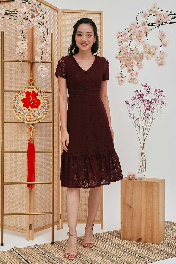 Lacey Fairytale Dropwaist Dress Burgundy Red